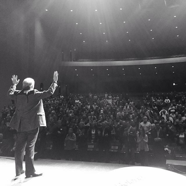 view from the stage standing behind Andrew..